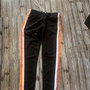 Black striped joggers